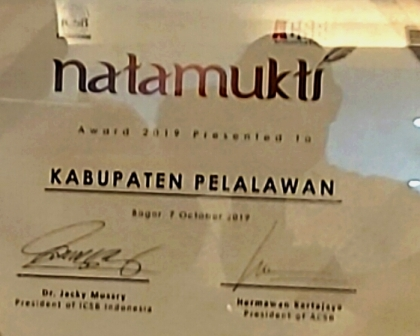 Pemkab Pelalawan Kembali  Raih Penghargaan Natamukti dari ICSB Indonesia City Awards 2019